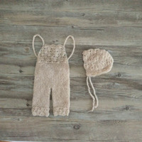 Baby mohair pants with hat photo props,handmade overalls shell pattern mohair pants
