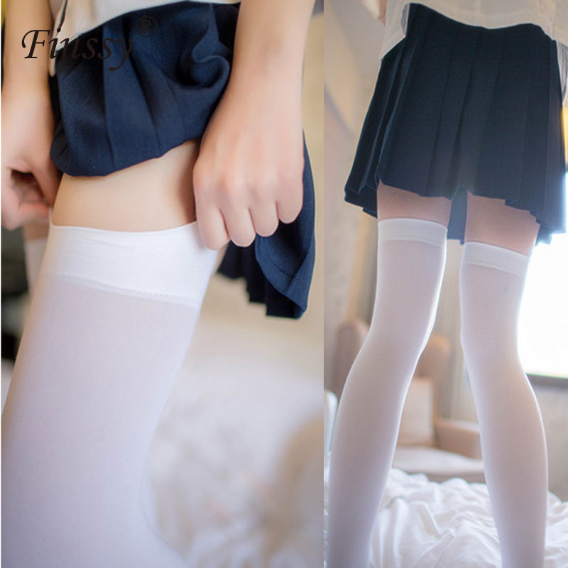 Japanese Lolita Velvet Stockings Maid COS Knee Candy Color Sexy Thigh Socks Cute High Stockings Student Silk