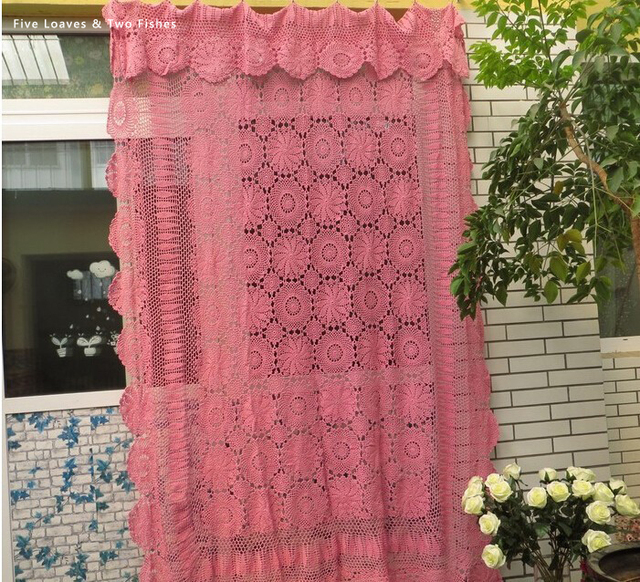 Openwork Knit Handmade Crochet Flowers Pink Cotton Curtains Southeast Asian Style Wedding Bed Covers