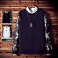2016 Primavera Outono Moda Masculina outwear Luva cheia Preto Branco Floral impresso tees O-ncek T-camisas Fit Tops Casual Nova camisas