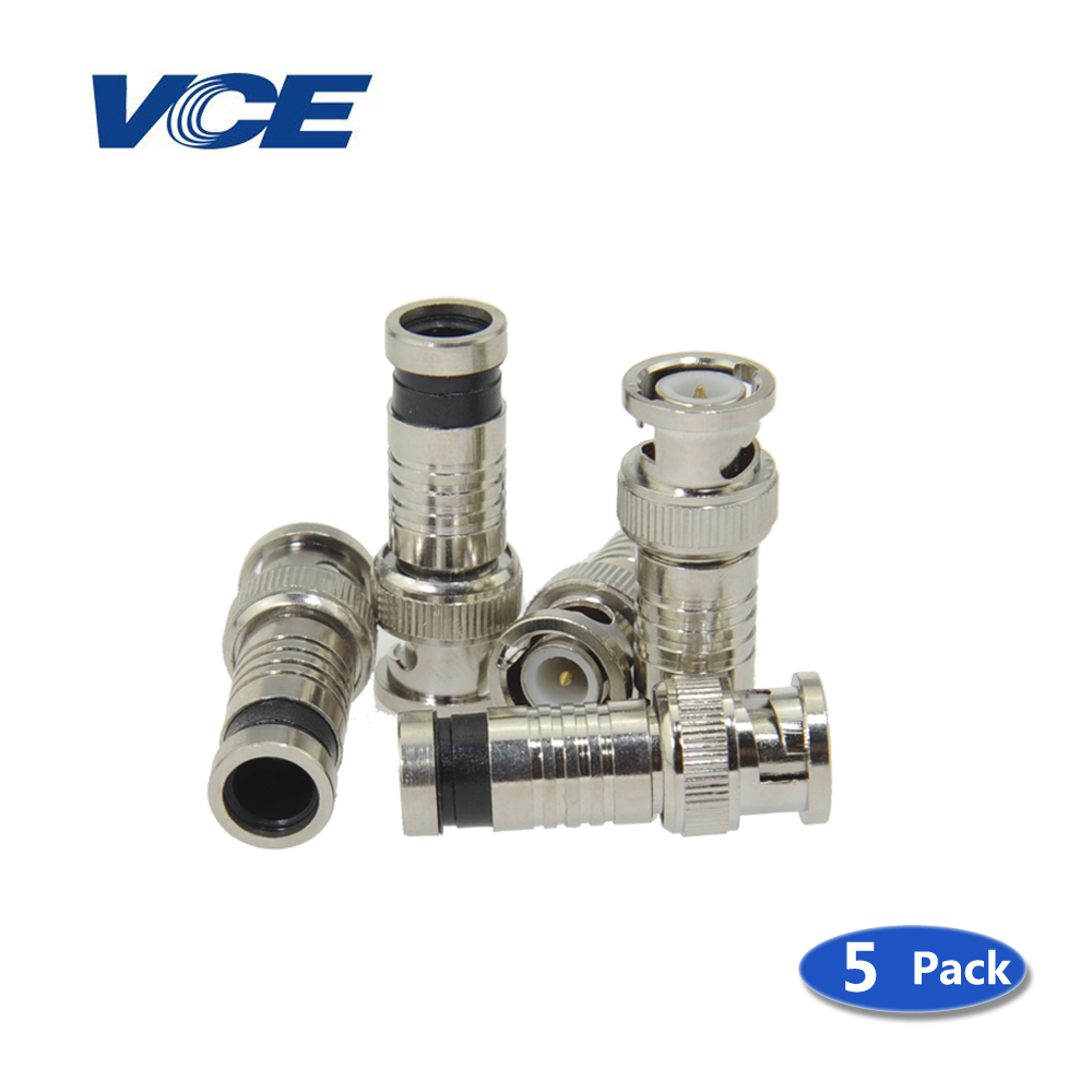 5pcs BNC male Compression Coax Connectors for RG59 Cable