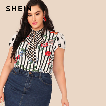SHEIN Plus Size Multicolor Tie Neck Mixed Floral Print Top Blouse Women Summer Elegant Cap Sleeve Stand Collar Striped Blouses