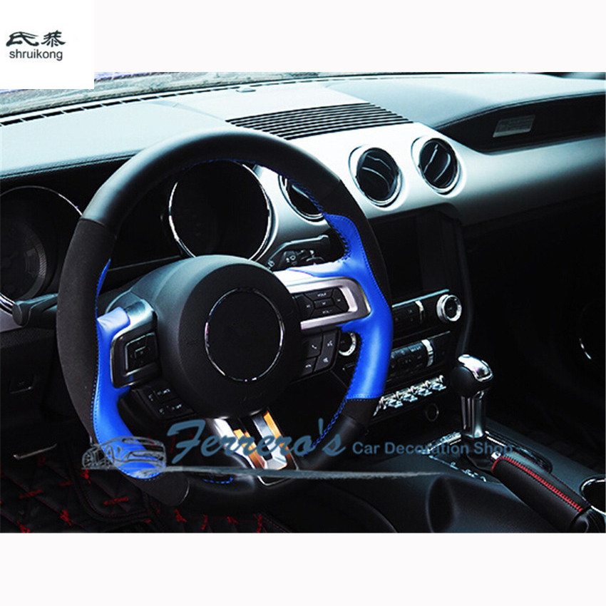Free shipping car styling Sew-on genuine leather car steering wheel cover Car accessories for 2015 2016 new ford mustang free shipping car styling sew on genuine leather car steering wheel cover car accessories for 2015 2016 new ford mustang