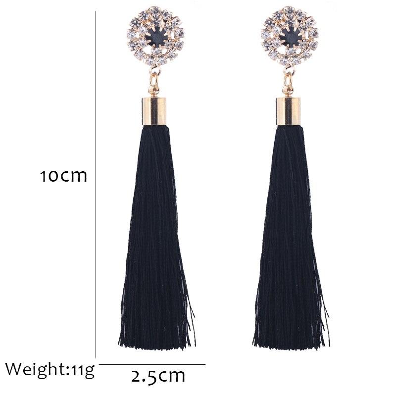 L&H Handmade Tassel Earrings For Women 2018 Fashion Female Drop Earrings Jewelry Vintage Statement Crystal Silk Long Earrings