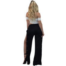 Tsuretobe New Fashion Sexy High Split Pants Women Plus Size Button Wide Leg Casual Pant Female 2017 Summer Loose Women Trousers