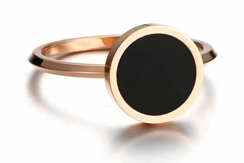 Mode Bruiloft Ring voor Vrouwen Minimalistische Goud Kleur Ronde Acryl Steen Rvs Ringen Jewlery