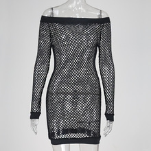 Women Sexy Fishnet Off Shoulder Dresses Bodycon Long Sleeve