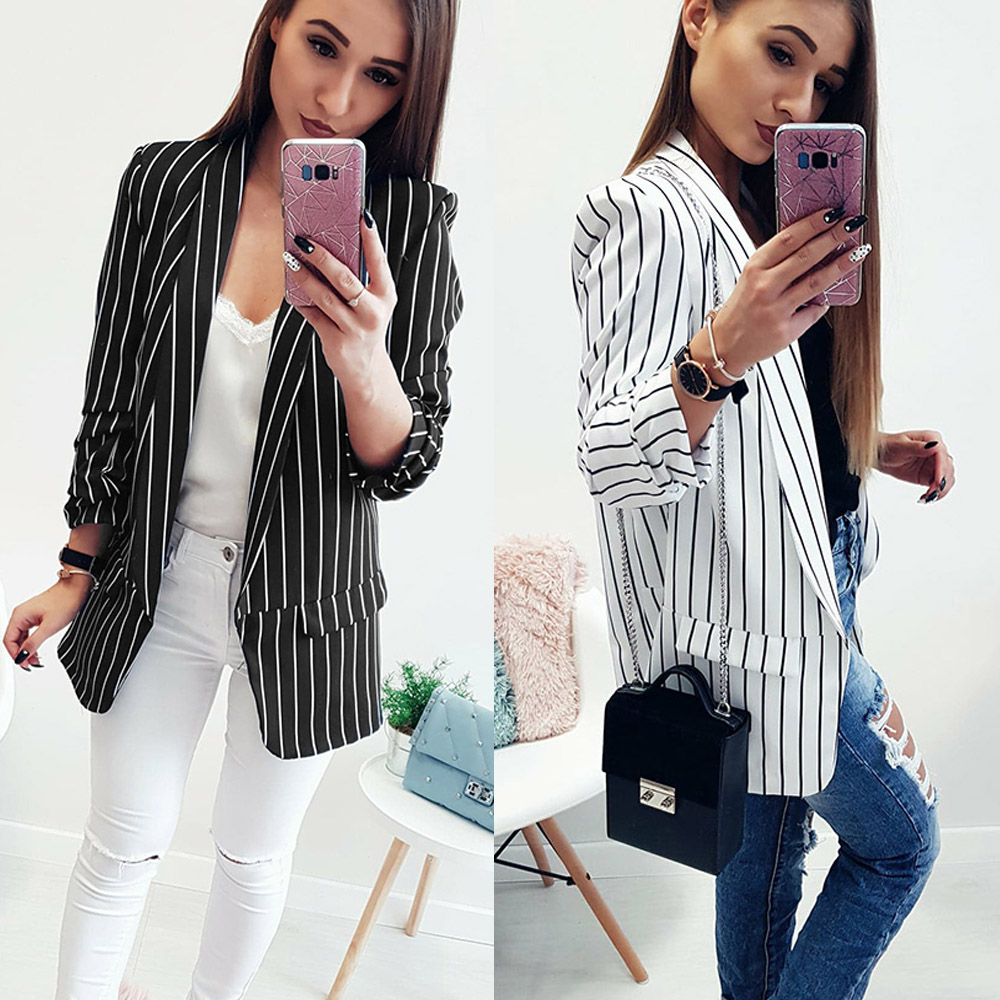 Women Striped Blazers And Jackets 2018 New Autumn Fashion Single Button Blazer Femenino Ladies Solid Long Style Blazer Female