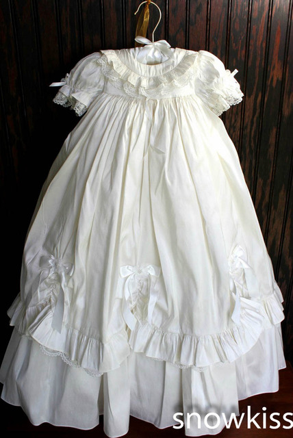 New Lace Baby Girls Boys White/Ivory First Communion Dresses Christening Gown Baptism Dress With Bonnet