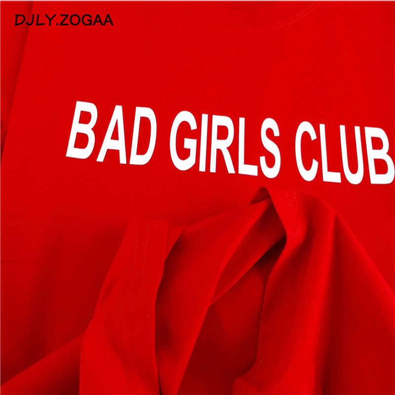 Zogaa nowa moda lato topy Punk koszulki z krótkim rękawem dla kobiet złe dziewczyny klub T koszula biały czerwony Harajuku kobiet T-shirt