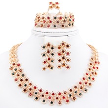 New arrivals african beads crystal rhinestone 18k gold necklace earrings sets bridal wedding jewelry sets