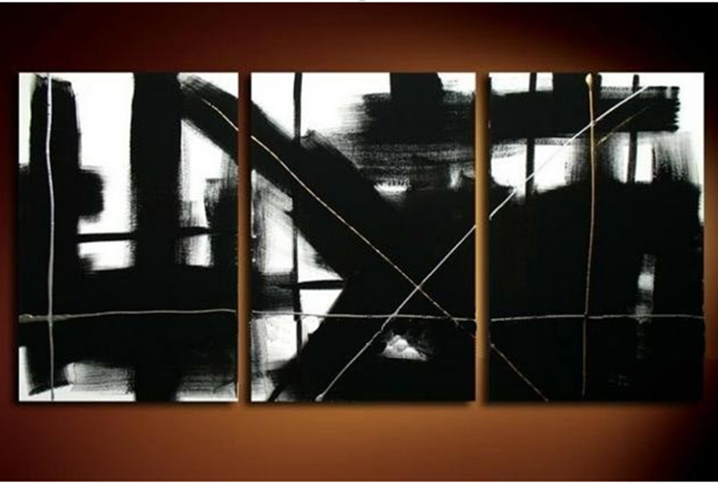 For Sale Handpainted Abstract Graffiti Black Oil Paintings 3 Panel Wall Art Painting Pictures on Canvas Modern Home Decor Arts