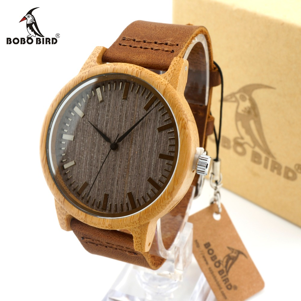 BOBO BIRD Women Bamboo Wooden Watches for Men Leather Straps Wood Dial Quartz Watch Lovers in Gift Box accept OEM Dropshipping uni uni t ut136b дешевый метр autoranging