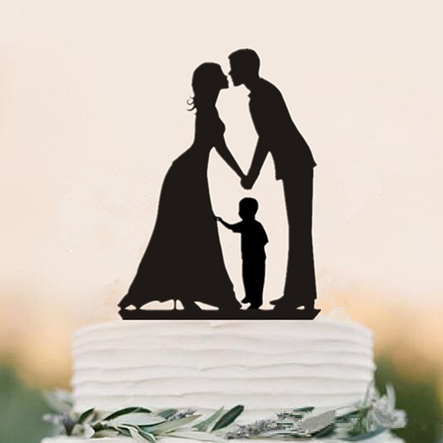 family silhouette kissing bride and groom wtih a boy wedding cake topper acrylic birthday cake toppers