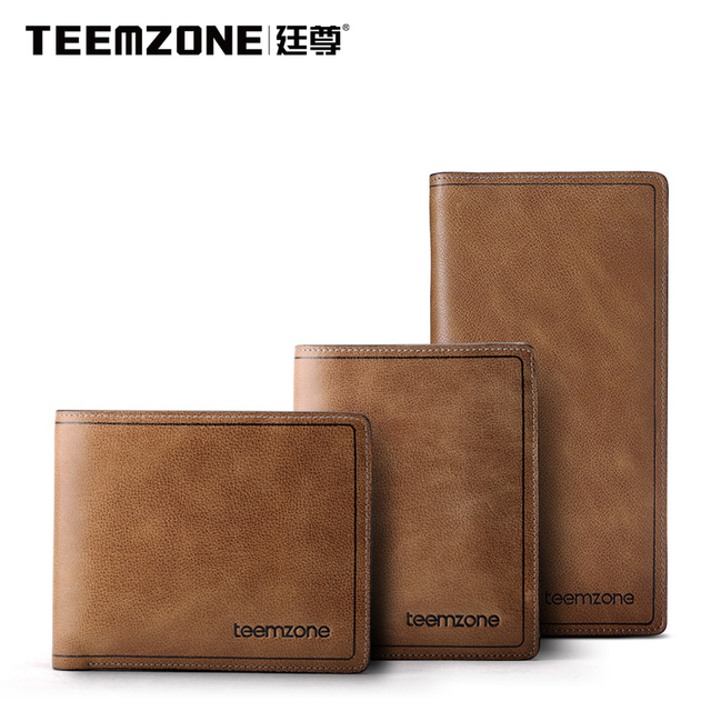 Mens Wallet Leather Genuine Teemzone Brand Man Wallet   Men's Vintage Purse High Quality Cowhide Credit Card Holder Men Wallet