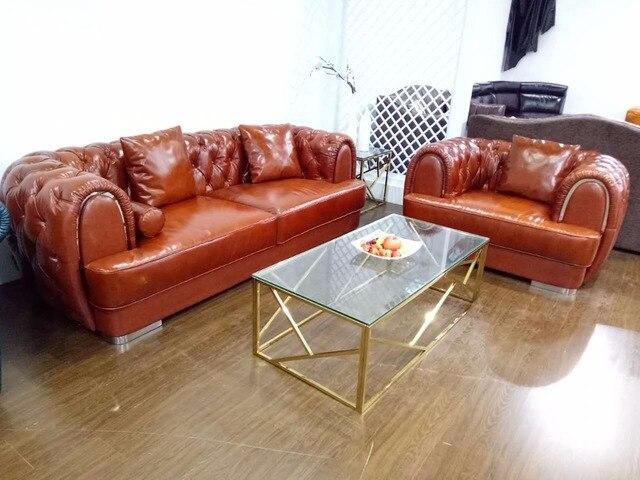 Cuero de grano superior sofá diamante tufted patas de acero ...