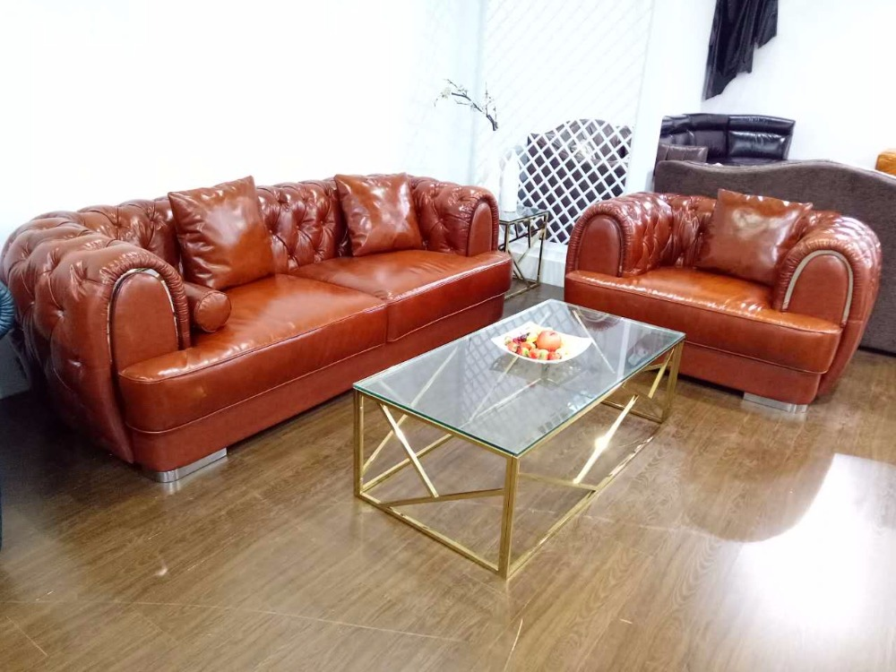 Top Grain Leather Sofa Diamond Tufted Stainless Steel Legs Living Room Furniture Made in China stainless steel axle sleeve china shen zhen city cnc machine manufacture