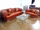 Top Grain Leather Sofa Diamond Tufted Stainless Steel Legs Living Room Furniture Made in China
