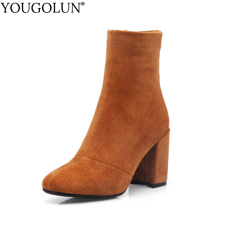 YOUGOLUN Women Ankle Boots Spring Autumn Stretch Flock Square Heel 8 cm High Heels Pig Leather Yellow Black Gray Shoes #Y-209 yougolun women ankle boots 2018 autumn winter genuine leather thick heel 7 5 cm high heels black yellow round toe shoes y 233