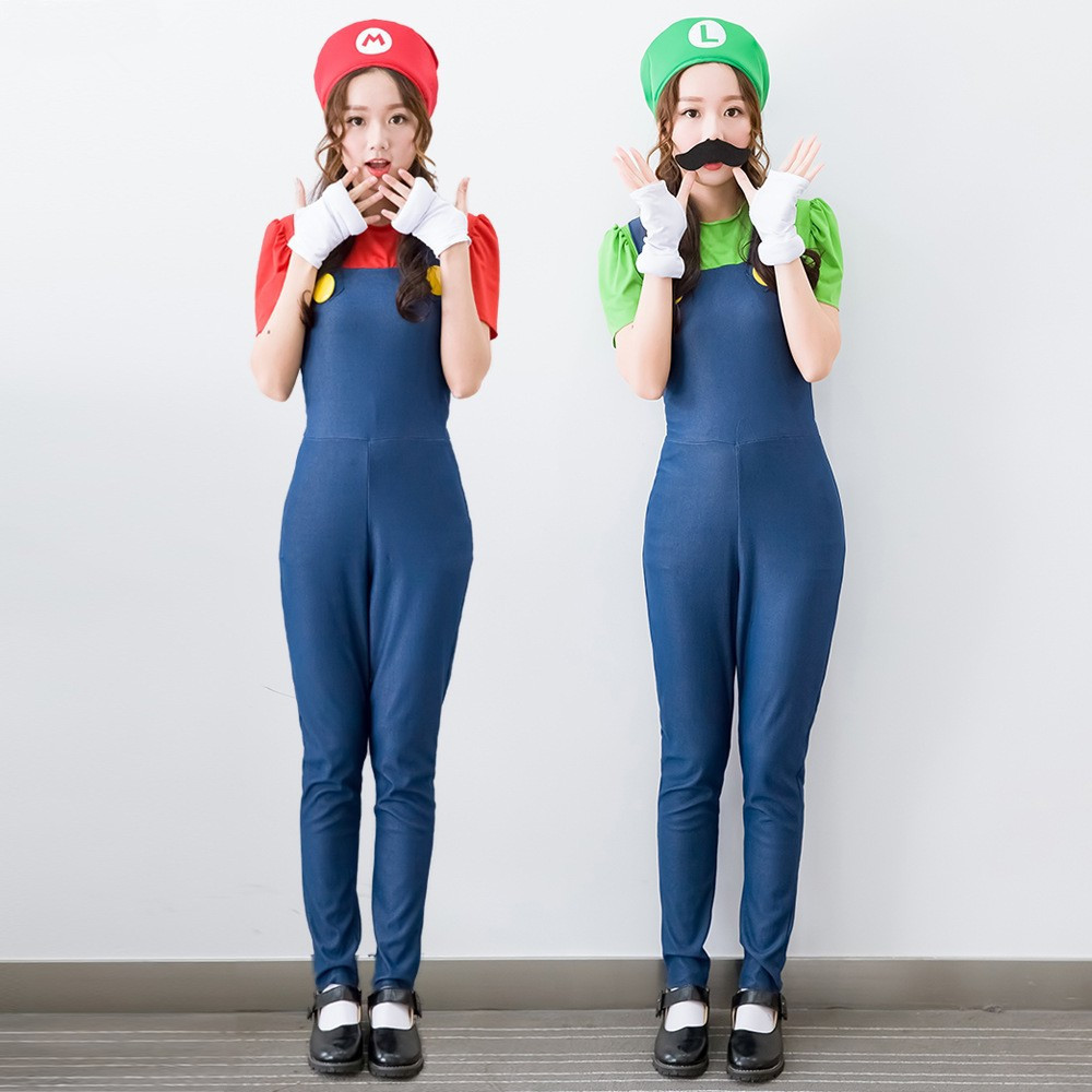 Women Adults Funy Cosplay Jumpsuit Halloween Super Mario Luigi Brothers Plumber Costume Disfraces Adultos Carnival Costume