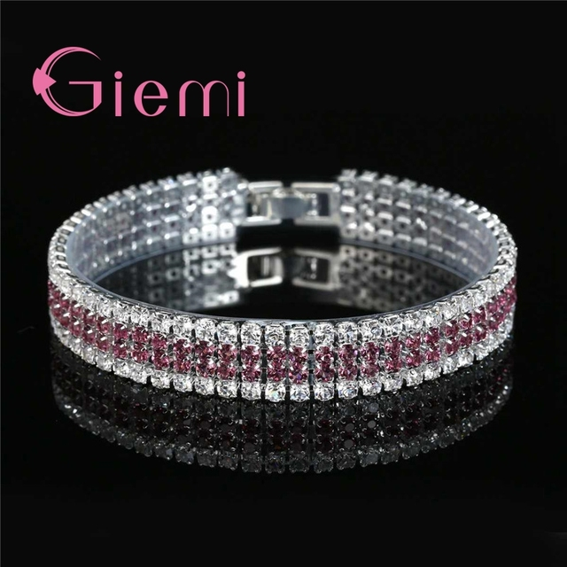 US $2 75 90% OFF|Big Sale 5 Colors Sparkling Cubic Zircon CZ Bracelets 925  Sterling Silver Full Austrian Crystal Paved Bangles Jewelry for Women-in
