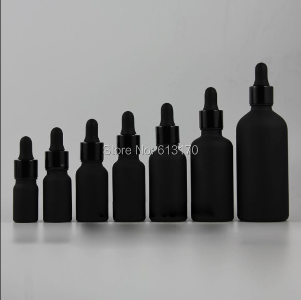 5ml 10ml 15ml 20ml 30ml 50ml 100ml Black Frosted Glass bottle With Dropper Empty Essential Oil