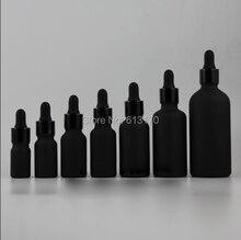 5 мл, 10 мл, 15 мл, 20 мл, 30 мл, 50 мл, 100 мл черный матовый Стекло бутылка с капельницей, пустой эфирное масло флакон черный Алюминий воротник, резиновая