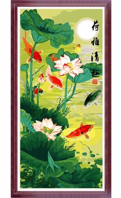 Sans cadre bricolage lotus peinture l 39 huile paysage de for Materiel peinture a l huile