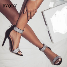 BYQDY Sexy Women Heeled Sandals Rhinestone Ankle Strap Super Zipper High Heels Open Peep Toe Thin Heels Lady Shoes Size 35-40