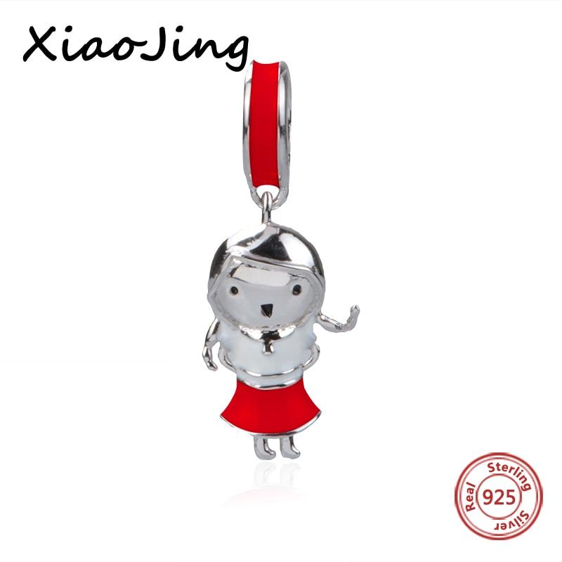 New arrival silver 925 pandora charms color enamel cute little girl beads fit original Bracelets diy Jewelry making women Gifts
