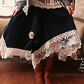 Spring Japanese Women Sweet Lolita Lace Embroidery Patchwork Irregular Hem Loose Medium Cute Kawaii Female Skirt Mori Girl C067