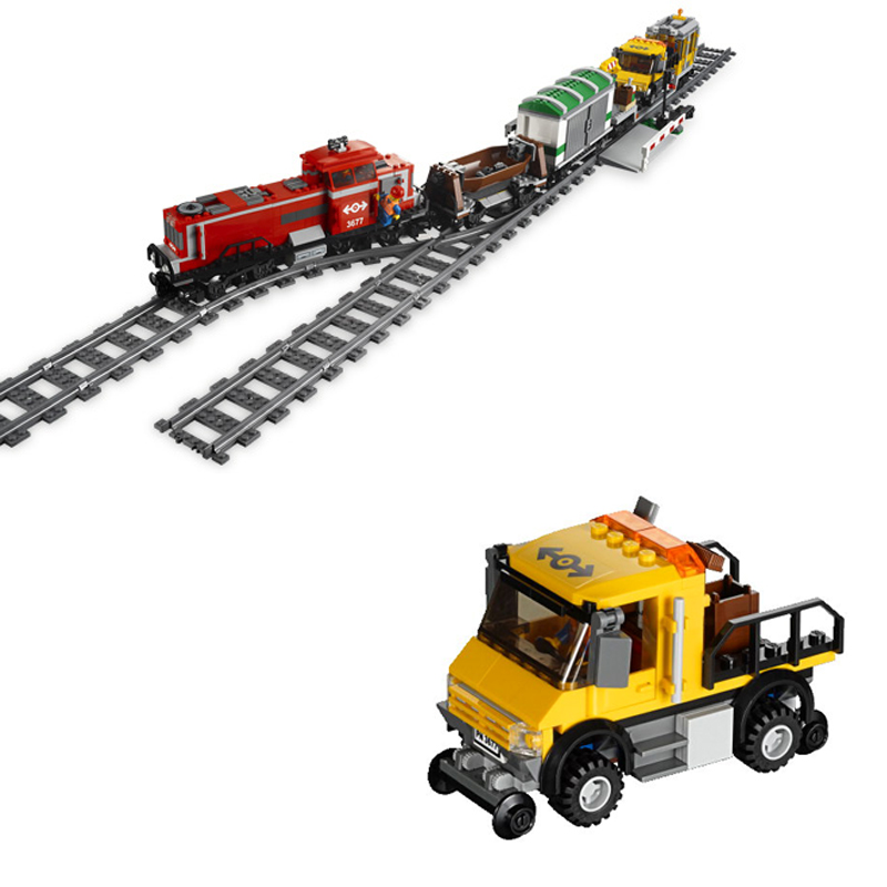 898Pcs City RED CARGO TRAIN Model Compatible with Lepins Building Kits Blocks Brick RC Figures Toys for Children Gift lepin 02012 city deepwater exploration vessel 60095 building blocks policeman toys children compatible with lego gift kid sets