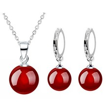 8mm new arrival shine natural stone agate red black women 925 sterling silver drop necklace earrings fashion Jewelry sets 80316