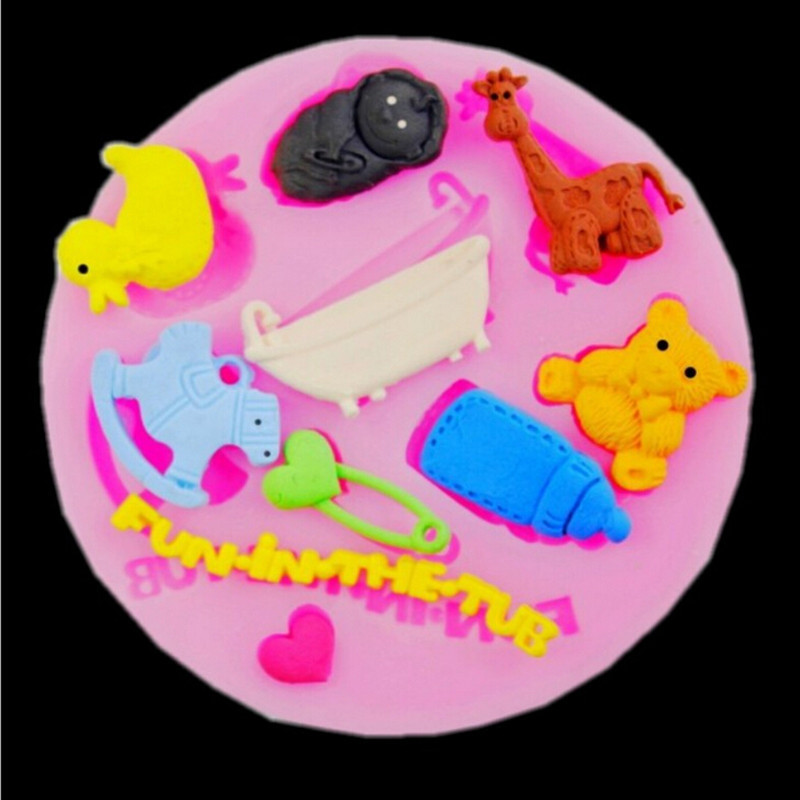 nursing bottle horse deer bear baby silicone mold soap fondant molds sugar craft tools chocolate mould moulds for cakes
