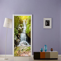 Waterfall Landscape Door Sticker Protection Wall Sticker For Shop Office Home Hotel Wall Door Decoration