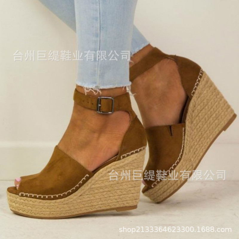 Women's Sandals Shoes Platform Open-Toes High-Heel Fashion Summer Velvet Flock Buckle