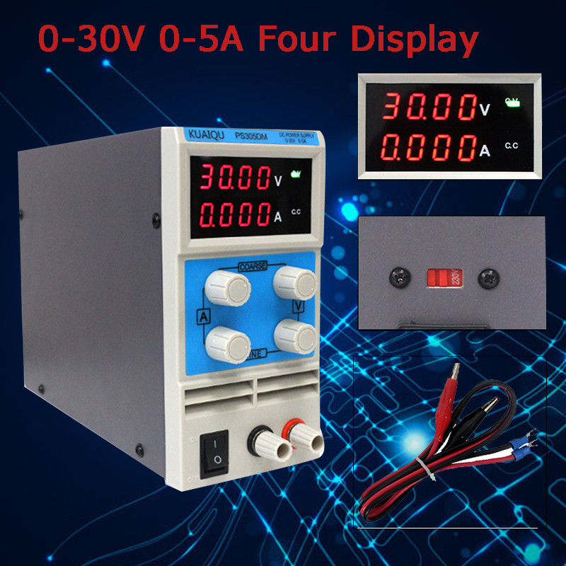 Adjustable digital display mini DC power supply Single Channel 0-30V 0-5A Four display Switching laboratory power supply ship from de four digit display professional 0 30v 0 5a dc power supply device for workshops laboratory etm 305f eu plug