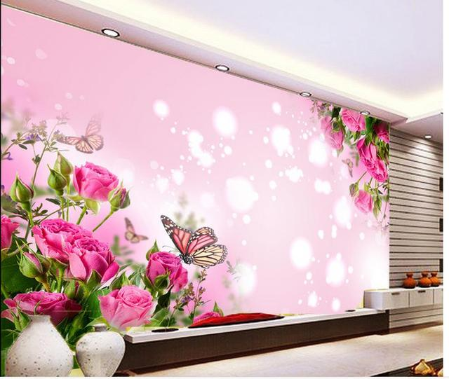 Home Decoration 3d stereoscopic wallpaper Rose pink romantic living ...