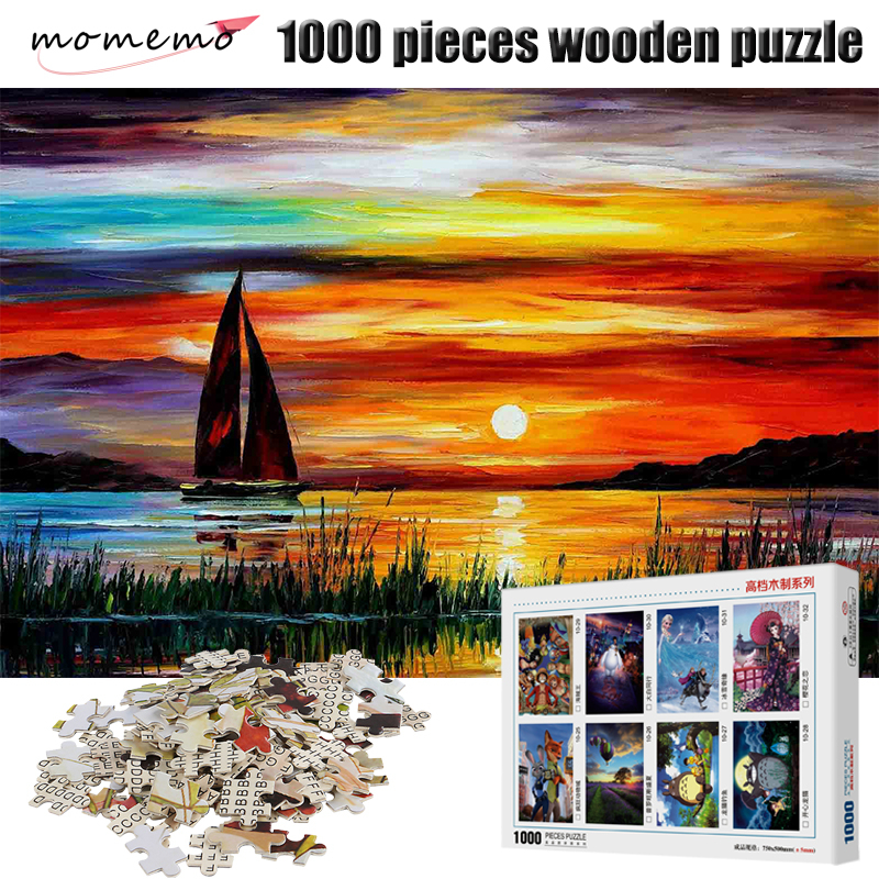 MOMEMO Beautiful Sunrise Puzzles Jigsaw 1000 Pieces Wooden Puzzle Landscape Jigsaw Puzzle for Adult Kid Children Toys Home Decor