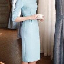 Half Sleeve Blue Dress