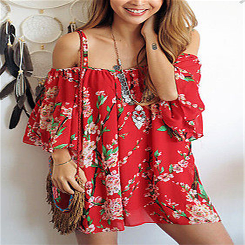 Women Fashion Floral Chiffon Off Shoulder Slash Neck