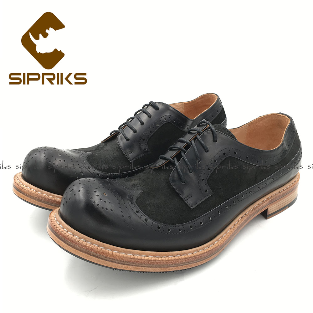 Ayakk.'ten Resmi Ayakkabılar'de Sipriks Yeni Stil Erkek Goodyear Welted Brogue Ayakkabı Buzağı Deri Siyah Inek Süet Erkekler Elbise Ayakkabı Retro Klasik Ayakkabı Ayakkabı'da  Grup 1