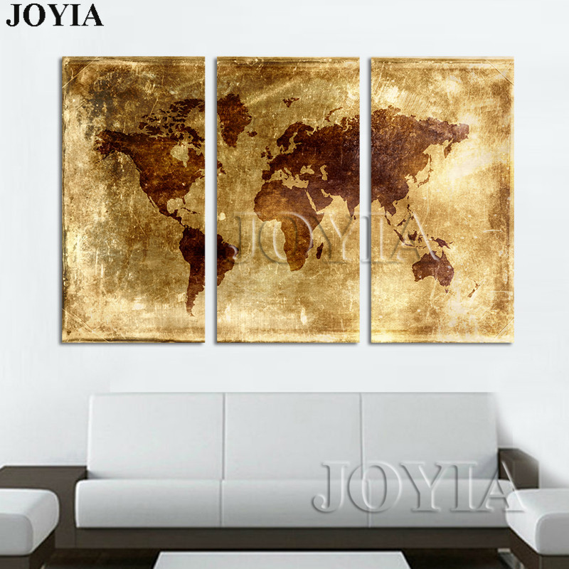 Large Abstract World Maps Canvas Art Print Golden Metallic Earth ...