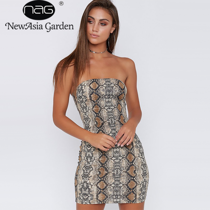 NewAsia Garden Autumn New Snake skin pattern word shoulder Women sexy Dresses Slim package wrapped chest Leopard Dress female