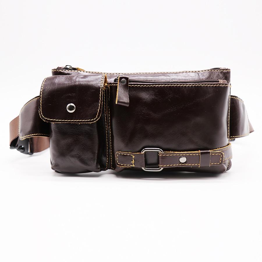 Μάρκα GO-LUCK Γνήσια αγελάδα αγελάδας Casual Travel τσάντα Ανδρική μέση Fanny Pack τσάντες ώμου για κινητό τηλέφωνο