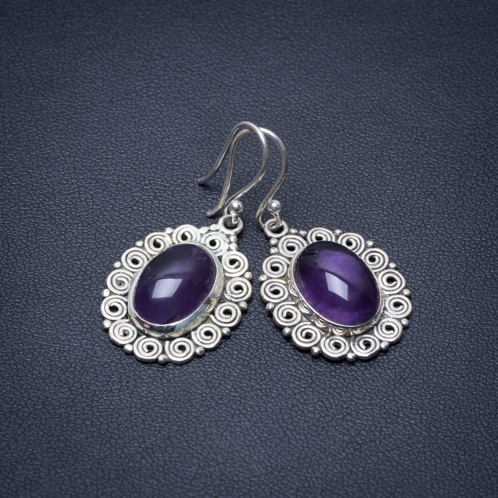 Natural Amethyst Punk Style 925 Sterling Silver Earrings 1 1/2 S1312