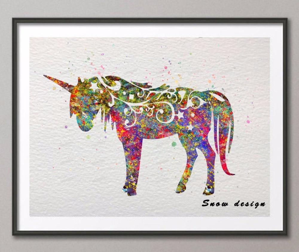 Original Watercolor Unicorn Poster Prints Pictures
