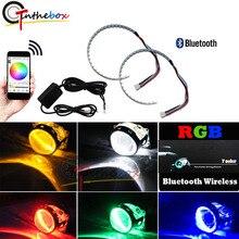 """Bluetooth ワイヤレスリモコン 15 SMD RGB LED 悪魔目ハローリングキットヘッドライトプロジェクターや 2.5 """"2.8"""" 3.0 """"レトロフィット Pr"""