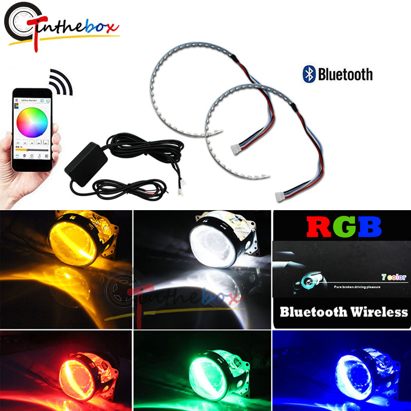 Bluetooth Wireless Remote Control 15-SMD RGB LED Demon Eye Halo Ring Kit For Headlight Projectors Or 2.5