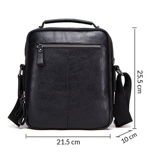 "Image 2 - CONTACTS 100% genuine leather men shoulder bag crossbody bags for men high quality bolsas fashion messenger bag for 9.7"" Ipad"